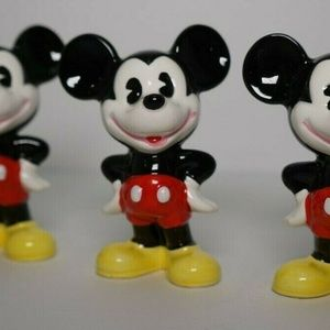 "3 Vintage Walt Disney 2.75"" Porcelain Mickey Mouse"